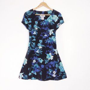 Vintage Navy Blue Floral A Line Dress